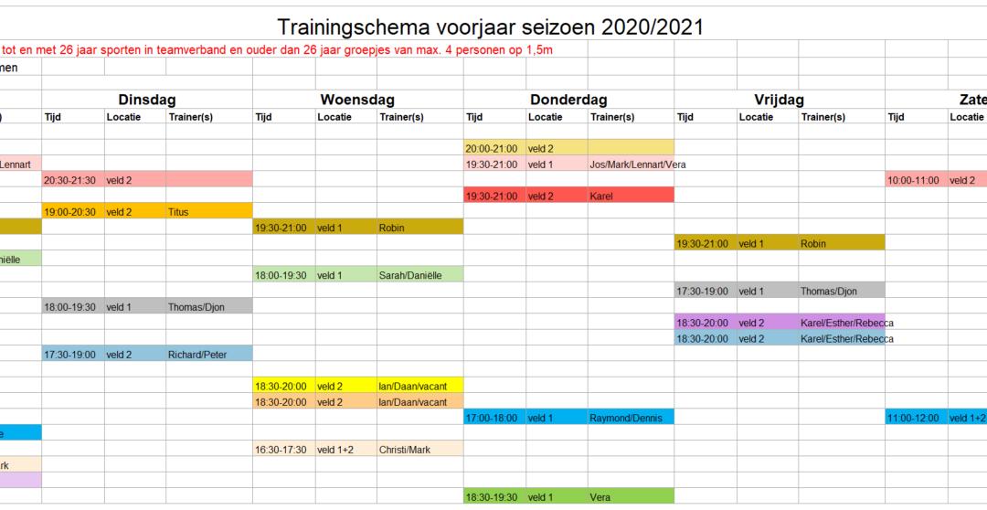 Trainingsschema zaal 2021/2022